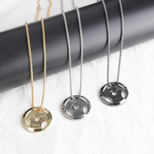 New European and American hip-hop car wheel necklace pendant men's steel gold fashion necklace frisbee T-shirt accessories european and american hip hop encrusted masked statue of liberty pendant necklace stainless steel color preserving plati