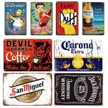 O cartaz do metal da cerveja de duff sinal da lata do vintage corona placa de metal sinais retro irlandês bar pub restaurante decoração da parede da sala placas