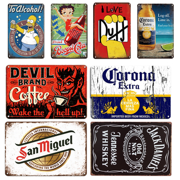 Duff Beer Metal Poster Tin Sign Vintage Corona Metal Plaque Signs Retro Irish Bar Pub Restaurant Room Wall Decoration Plates dad s barbecue decorative signs beer bbq plaque metal vintage wall bar home art retro restaurant decor 30x20cm du 6034a
