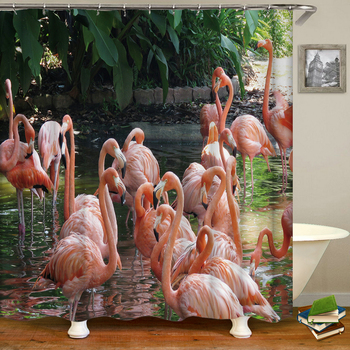 Flamingo Shower Curtains Waterproof Fabric 3d Bathroom Curtains Pink Birds With Hooks Decoration Large Size 240X180 Bath Screen image