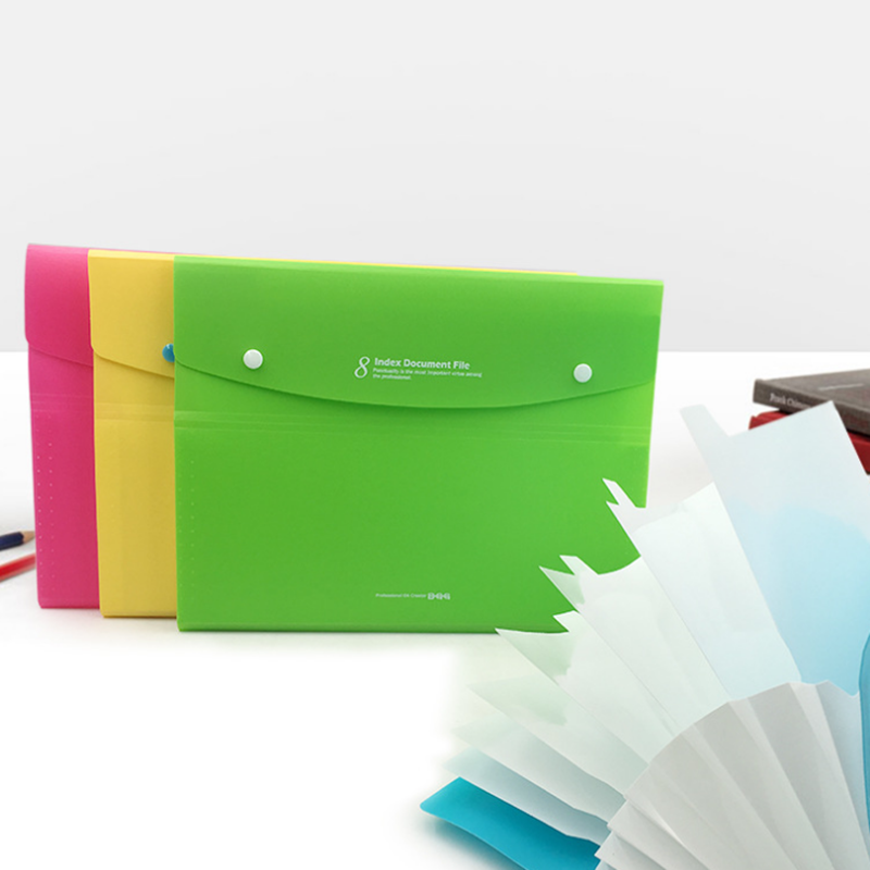 8 Index Multi-layer Folder A4 Student Organ File Plastic Paper Data Bag Filing Products Document  Bag