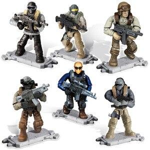 Image 4 - 도시 SWAT 피규어 빌딩 블록 메가 현대 군사 전장 군인 경찰 육군 무기 입상 액션 피규어 장난감 선물