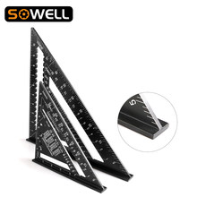 7/12inch Triangle Angle Protractor Aluminum Alloy Speed Square Measuring Ruler Carpenter Measuring Tools