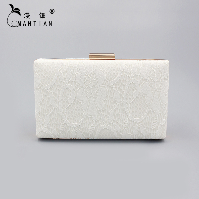 New Style Women's Luxury Evening Bag Cross Square Lace Clutch Western Style Printed White Women's Bag