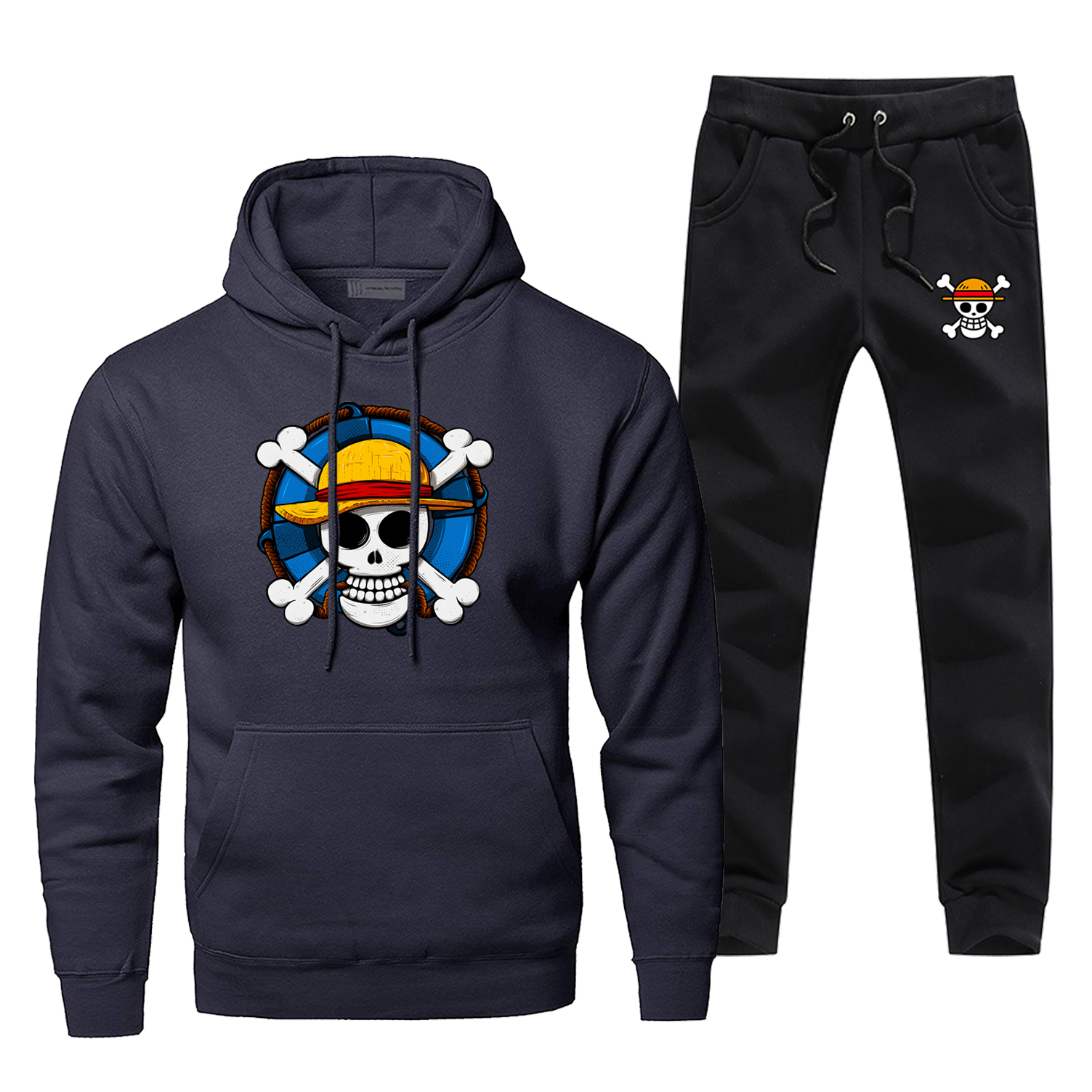 Japanese Anime One Piece Hoodie Men Hoodies+pants Sets Mens The Pirate King Luffy Sportswear Sweatshirt Winter Fleece Tracksuit