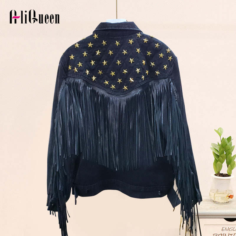 Women Punk Style Cool Denim Jacket Womens Jackets and Coats Streetwear Stars Rivet Long Tassel Short Batwing Jean Coat Outerwear
