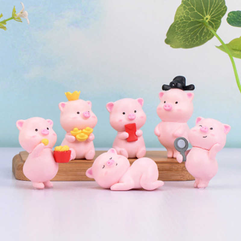 Mascot Cute Fortune pig Micro Landscape Craft Miniatures DIY Mini Small Ornaments Model Figure Toy for kids gift home decor 1PC