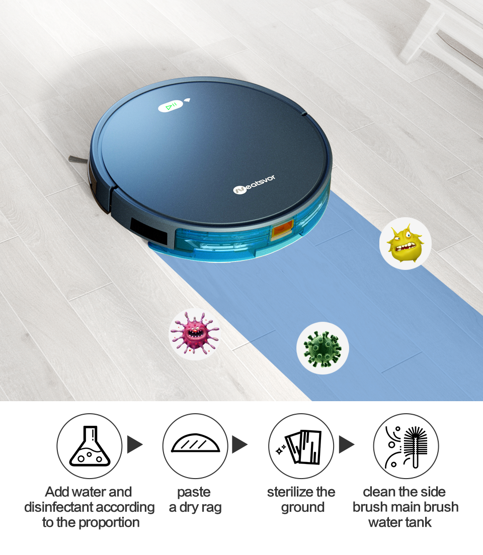 Hac6a4c0286ba4188a4c5631d6100a095I NEATSVOR X500 Robot Vacuum Cleaner 1800PA Poweful Suction 3in1 pet hair home dry wet mopping cleaning robot Auto Charge vacuum
