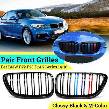 1Pair Car Front Kidney Grilles Gloss Black M 2 Slats Lines For BMW F22 2012-2018 F23 F24 2014 2015 2016 2017 2018 Racing Grilles