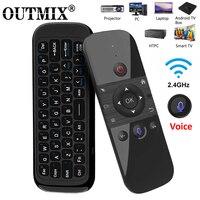 Teclado inalámbrico W1 PRO Fly Air Mouse Original, 2,4G, Mini mando a distancia recargable para ordenador portátil, Smart Android TV Box PC