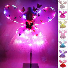 EDCRFV 1Set Women Girls Role-playing Props Flashing Wings Tutu Skirt Glow Headband Fairy Stick Adult
