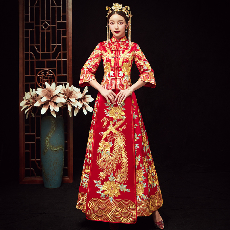 Top SaleOversize 4XL 5XL 6XL Bride Dress Wedding Dress Retro Dress Chinese Cheongsam Dress The Bride Toast Clothing Long Section