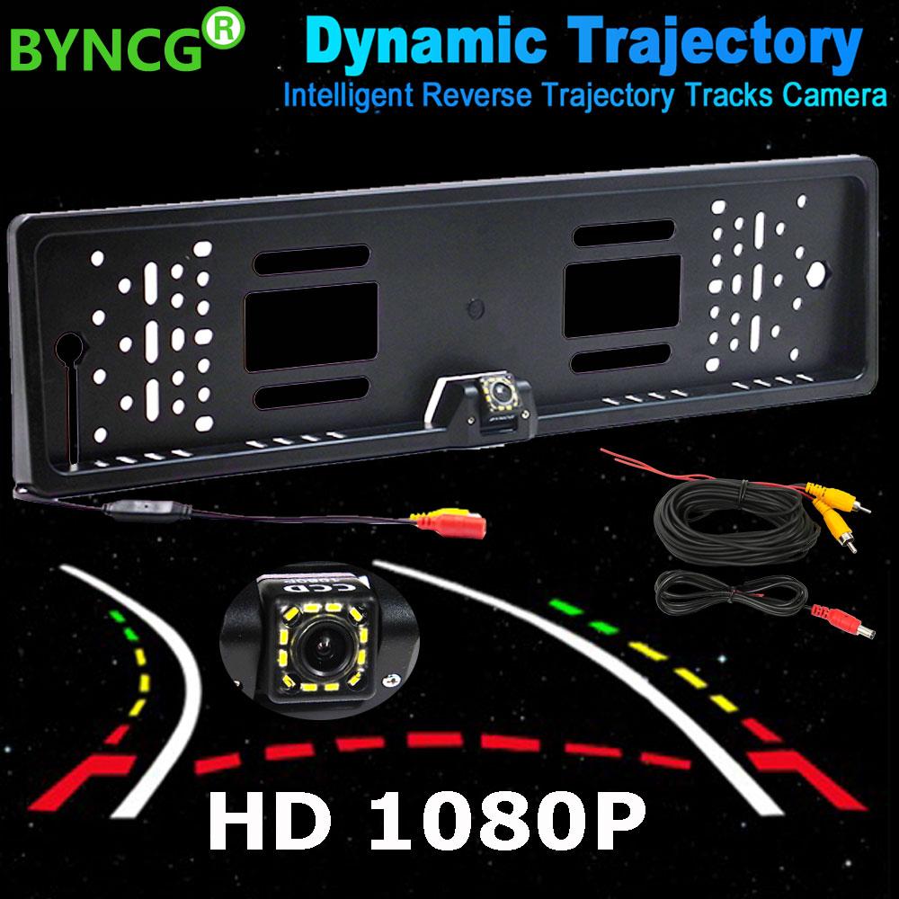 BYNCG Intelligent Dynamic Trajectory Tracks Reverse Backup Rear View Camera 1080P HD CCD Auto Reversing Parking Assistance