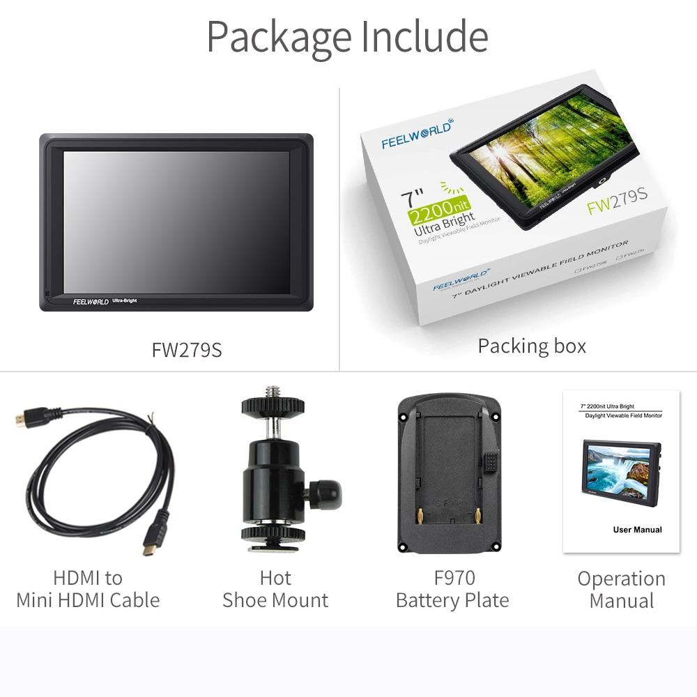 FEELWORLD FW279S 7 дюймов ips 2200 нит 3G-SDI 4K HDMI камера полевой монитор 1920X1200 DSLR монитор для съемки видеофильмов - Цвет: Standard FW279S