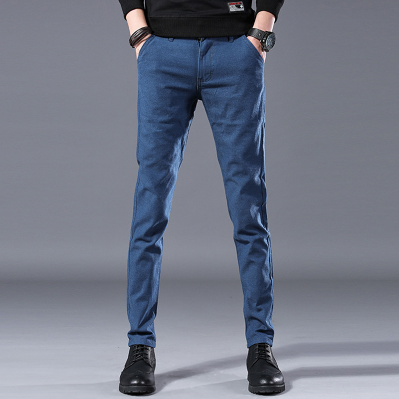 Teenager Men Thick Skinny Pants 2019 Autumn & Winter New Style Korean-style MEN'S Casual Pants Plus Velvet Trousers Men's