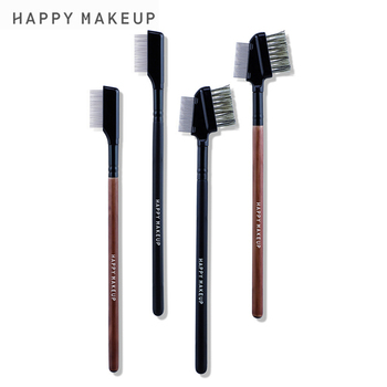 Professional Makeup Brushes for Eye Stainless Steel Eyebrow Comb Wood Handle Double-Sided Eyelash Comb with Cover Cosmetic Tools 1