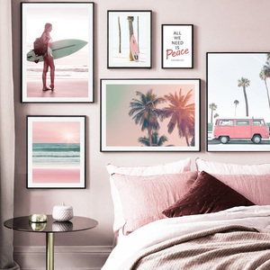 Pink Beach Palm Tree Car Girl Surfboard Wall Art Canvas Painting Nordic Posters And Prints Wall Pictures For Living Room Decor