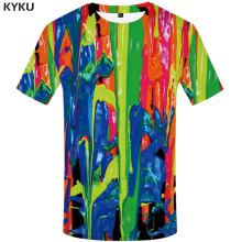 KYKU Brand Graffiti T shirt Men Colorful T-shirts 3d Psychedelic Funny shirts Art Tshirt Printed Gothic Tshirts Casual