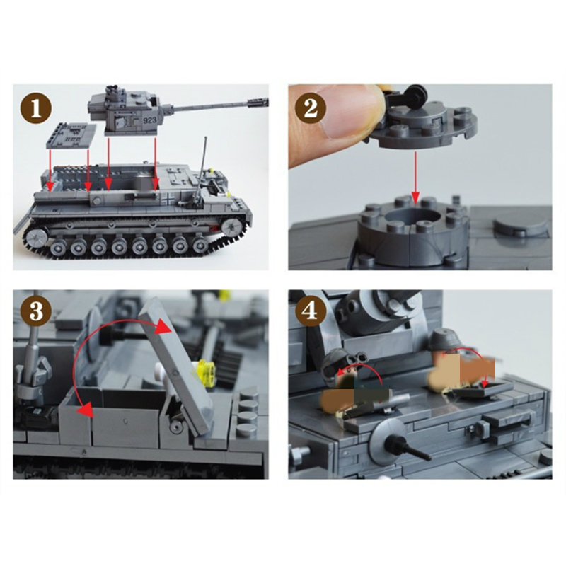 Image 2 - 995pcs Military German King Tiger Tank Panzer IV Tank Building Blocks Compatible All Brands brand Army WW2 Soldier Weapon BrickBlocks   -