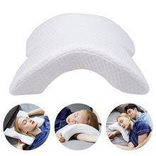 アーチ u 字型湾曲した低反発睡眠首頚椎枕中空デザインアームレスト手枕カップルのためのサイド枕木