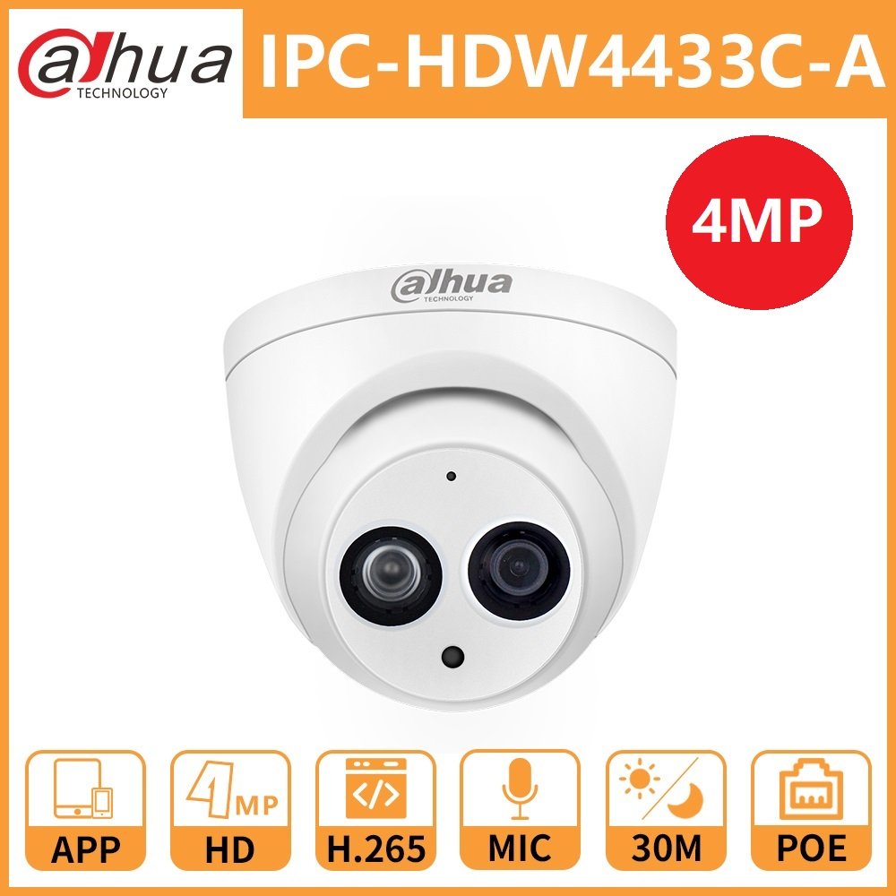 Dahua DH IPC-HDW4433C-A 4MP POE Network IP Camera HD Starlight Camera Mini Dome Security Built-in Mic Replace IPC-HDW4431C-A