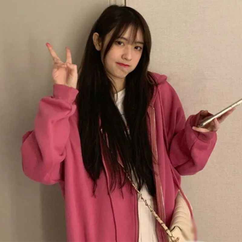 Zip-up Women Korean Style Hoodies Vintage Solid Color Long Sleeve Oversized Hooded Sweatshirt Lady Women Casual Large Coats 8
