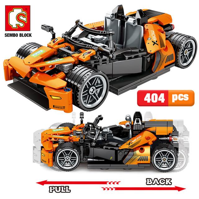 Sembo City Pull Back Mechanical Vehicle Building Blocks Creator Technic Racing Car Model Bricks Educational Toys for Kids Gifts