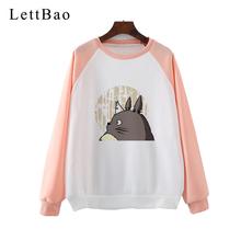 Totoro ducha od obiektu studio ghibli kobiety bluzy z kapturem japońska kreskówka bluza anime hayao miyazaki kawaii ubrania obszerna bluza z kapturem tanie tanio LettBao Poliester REGULAR Pełna Suknem Swetry Drukuj Na co dzień O-neck red pink Anime Sweatshirt Funny Kawaii streetwear