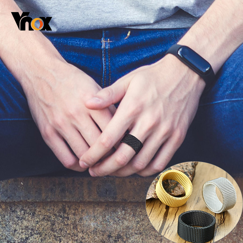 Vnox High Quality Mesh Stainless Steel Ring for Men Women Simple Hollow Male Wedding Band Retro Punk Gothic Unisex Jewelry(China)