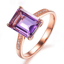 Square amethyst gemstones crystal Rings for women Rose gold zircon diamond anillos mujer elegant jewelry bijou girlfriend gift(China)