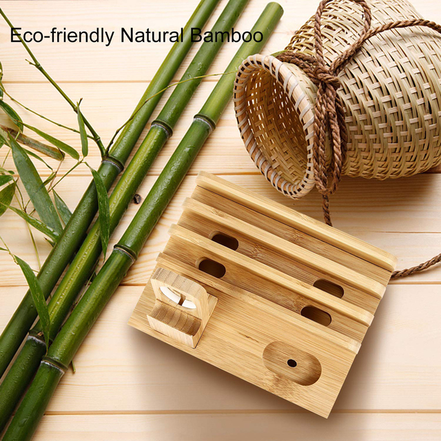 Multifunctional Bamboo Material Mobile Phone Docking Station (Desk Organizer For Smartphones, Smartwatch, Bluetooth Earpods and Tablets)