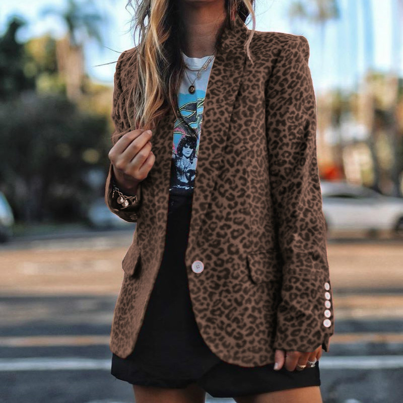 Elegant Office Lady Blazers Fashion Printed Leopard Blazers Notched Spring Autumn Long Sleeve Women Jacket Slim Red Coat G1089