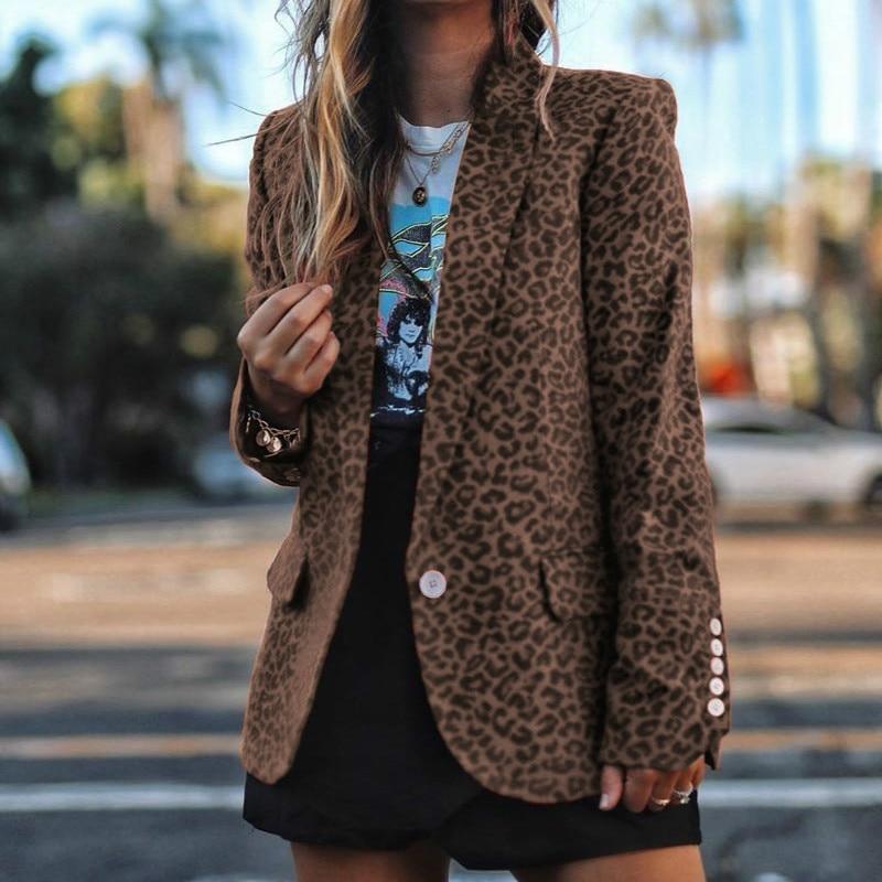 Elegant Office Lady Blazers Fashion Printed Leopard Blazers Notched Spring Autumn Long Sleeve Women Jacket Slim Red Coat G1089