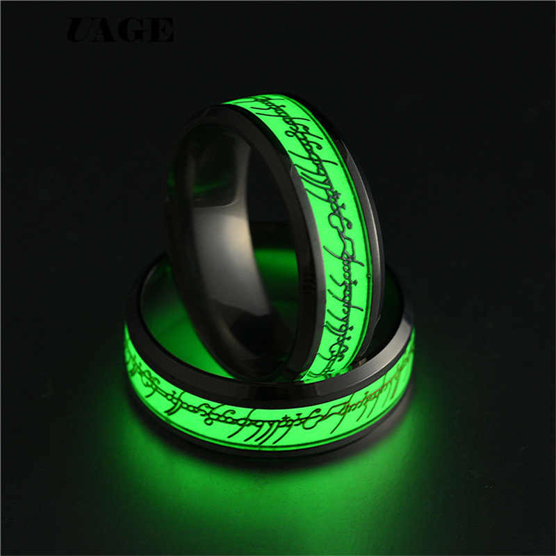 Uage Hobbit Lord Of Ring Voor Mannen Roestvrij Staal Fluorescerende Gloeiende Logo Vinger Rings Wedding Band Ring