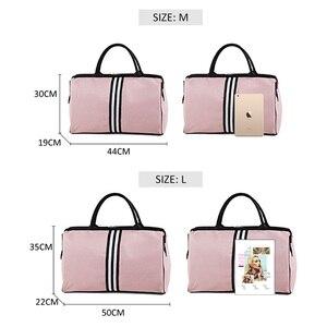 Image 5 - Sports Gym Bag Travel Handbag Women Traveling Bags Lady Luggage Tas Sac De Sport Duffle Gymtas 2020 Striped OutdoorB ag XA286D