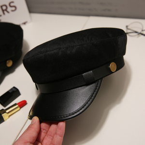 Fashion PU Leather Military Hat spring summer Wool Sailor Hat For Women Men Black flat top Female travel cadet hat Captain Cap(China)