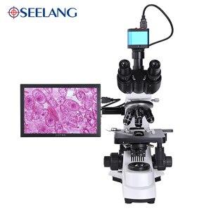 Image 2 - Profesjonalne laboratorium biologiczne HD trinokularnej mikroskop zoom 2500X + 16MP elektroniczny cyfrowy USB HDMI VAG + 10 cal LCD led