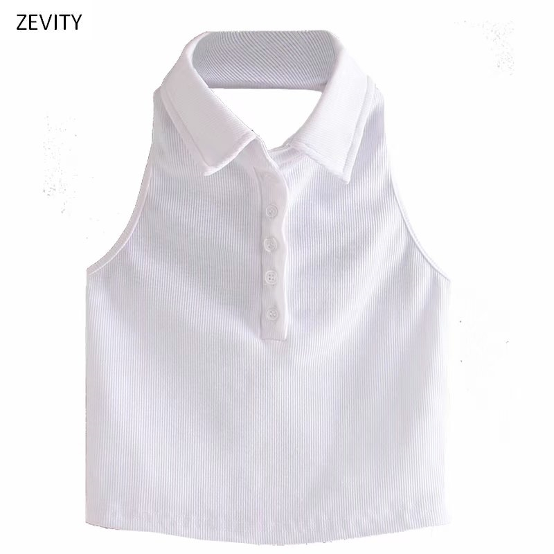 Zevity New Women fashion turn down collar Threaded white blouse office lady sleeveless chic backless femininas shirt tops LS6777