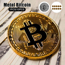 10 pçs coleção de arte bitcoin moedas de prata de ouro lembrança banhado a ouro bitcoin bit moeda presente físico metal antigo moedas de imitação