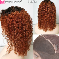 DreamDiana Remy Ombre Front Lace Wig Ombre Water Wave Lace Front Wig 150 Density Pre Colored 13x4 Lace Front Human Hair Wigs M