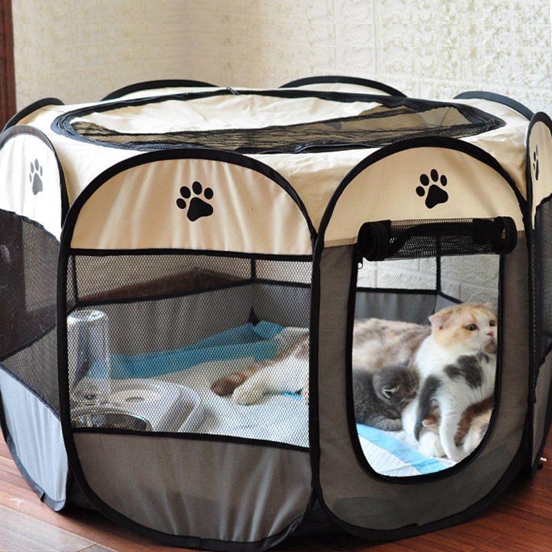 Dog Tent Portable House Breathable Outdoor Kennels Fences Pet Cats Delivery Room Easy Operation Octagonal Playpen Dog Crate 1