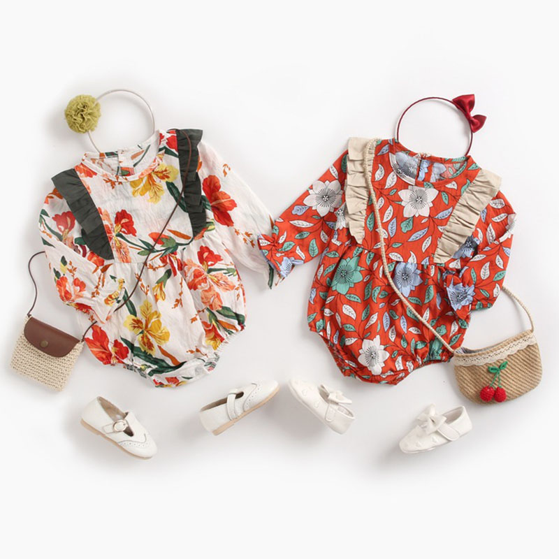 New 2019 Autumn Winter Baby Bodysuit Long Sleeve Floral Rompers Infants Girls Baby Girl Clothes Jumpsuit 0-3Yrs