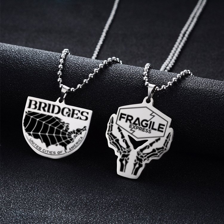 Death Stranding United States Map Choker Necklace Letter Bridges United Cities of America Pendant Necklace Jewelry image