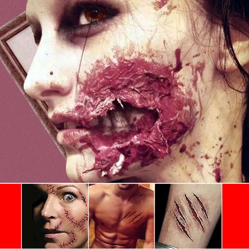 1pc Defense Tactical Tattoo Horrible Zombie Scars Tattoos Halloween Horror 3D Really Blood Injury Sticker Fake Scab Blood Makeup