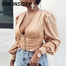 For Insider Silk ruffle vintage women tops and blouses Puff sleeve v neck sexy blouse shirt Elegant office ladies winter blouse ruffle neckline and cuff blouse