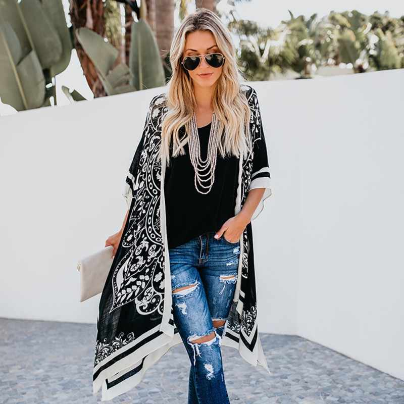 Women Digital PrintLong Style Plus Size Shirt Lace loose Summer Fashion Sunscreen Shirts Beach Style Cardigan Kimono