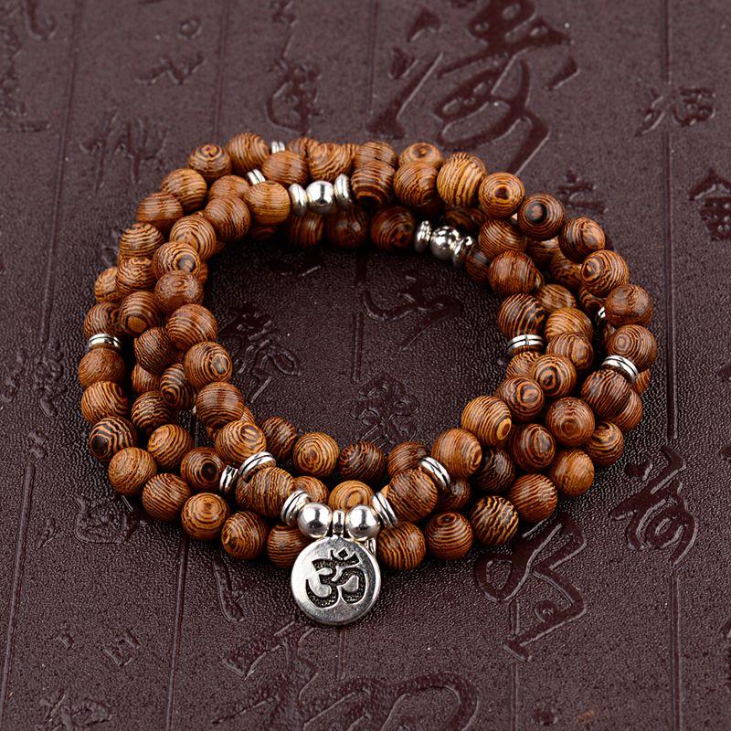 A più strati di Perline di Legno Buddha Lotus OM Braccialetto Buddista Tibetano Mala di Fascino Braccialetto Del Rosario di Yoga di Legno Per Le Donne Degli Uomini Dei Monili 1