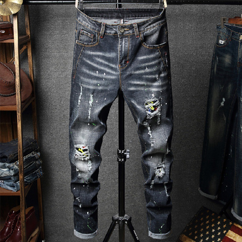 Jeans Men's Elasticity With Holes Skinny Pants