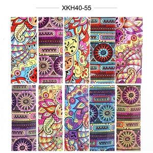 Image 5 - 10pcs Colorful Stagnola Del Chiodo Set Adesivo Decalcomanie Avvolge Adesivi Unghie artistiche di Trasferimento Sventa Decorazioni Manicure Cursori TRXKH40 53 55