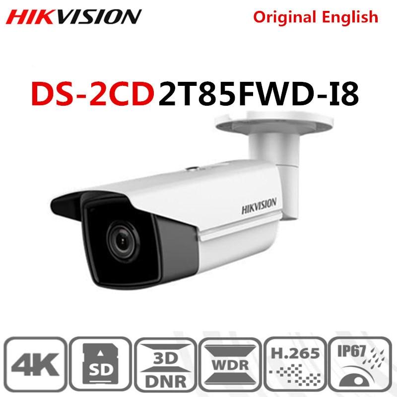 Original Hikvision English International Version DS-2CD2T85FWD-I8 8MP 4K IR Fixed Bullet Network Camera H.265+ POE IR Range 80m